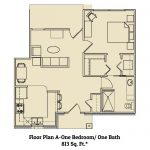 Floor plan for 1 bed 1 bath residence at Ridgemont Village
