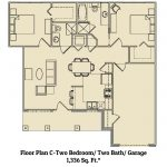 Floor plan for 2 bed 2 bath residence at Ridgemont Village